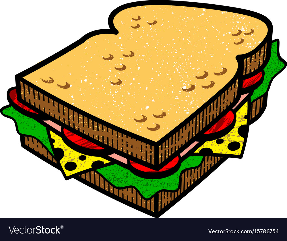 sandwich cartoon illlustration royalty free vector image vectorstock