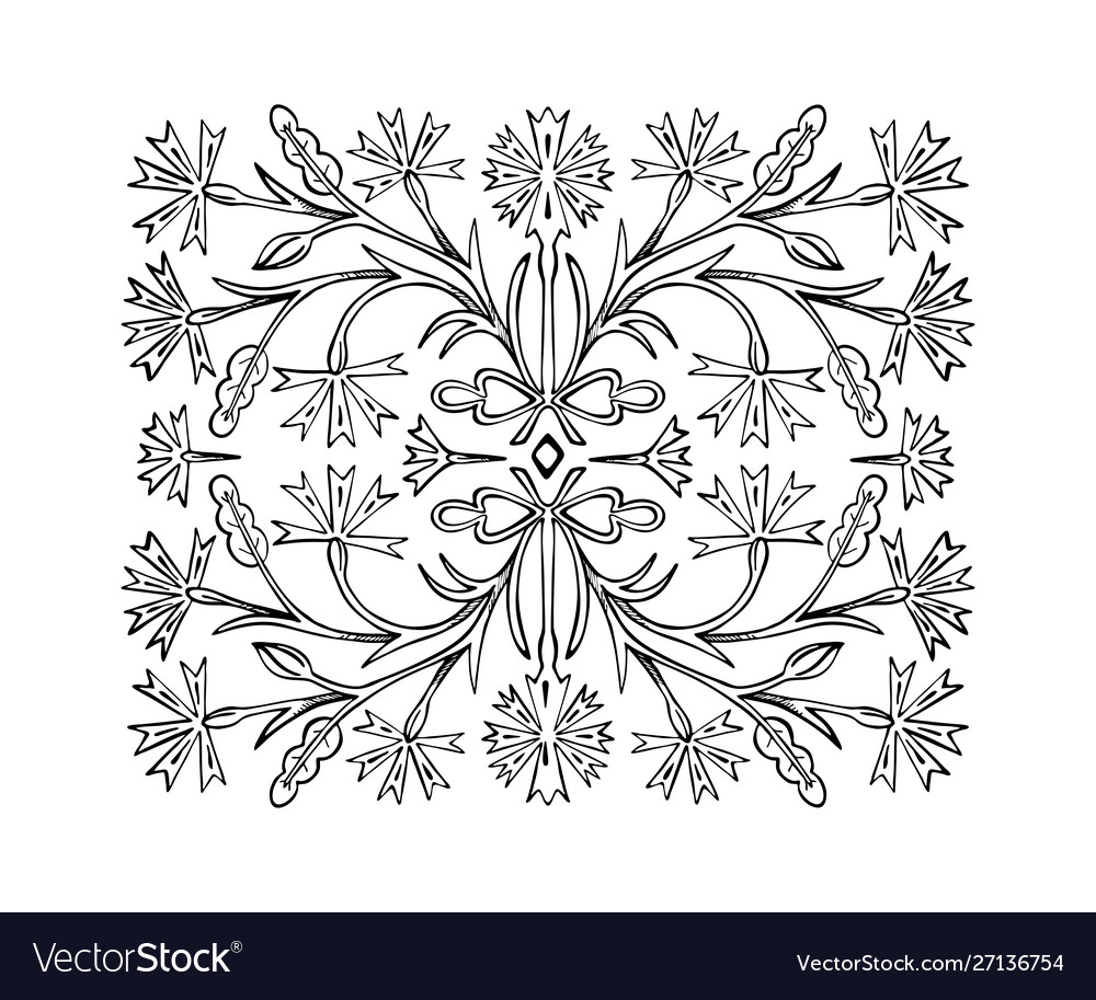 The flower ornament pattern is drawn hand