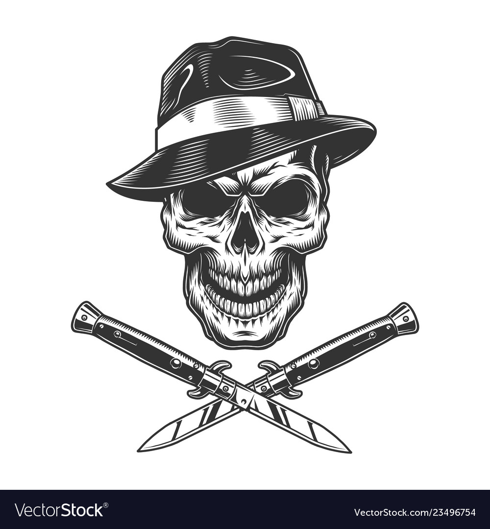 61679bcbfbddb Vintage gangster skull in fedora hat Royalty Free Vector