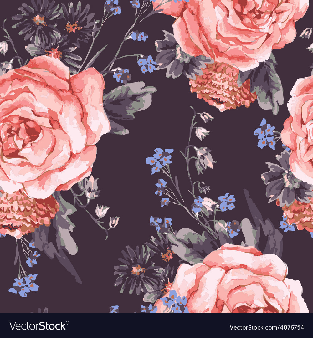Vintage Seamless Background with Roses vector image