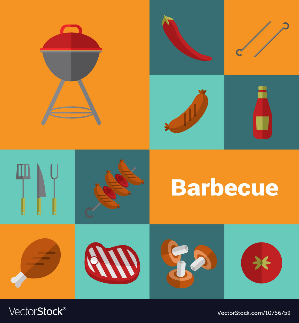 Barbecue grill icons set BBQ concept