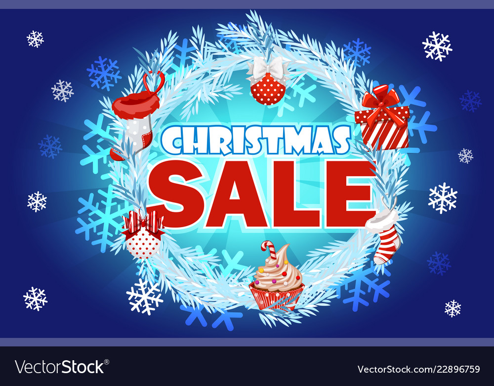Christmas sale - banner with text on blue wreath