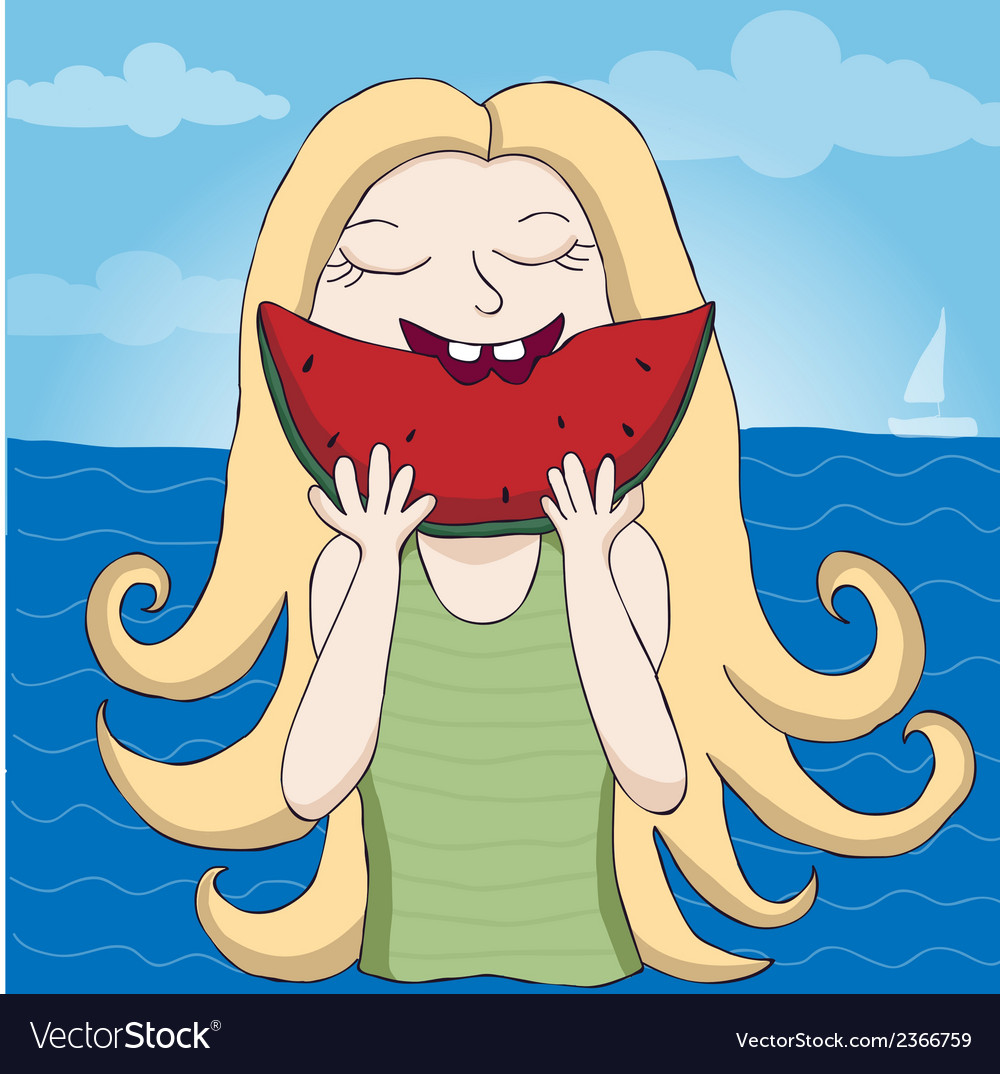 Girl eating watermelon vector image