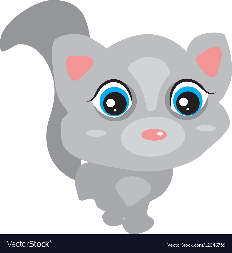 Gray cute baby cat with big eyes pink ears Cute vector image