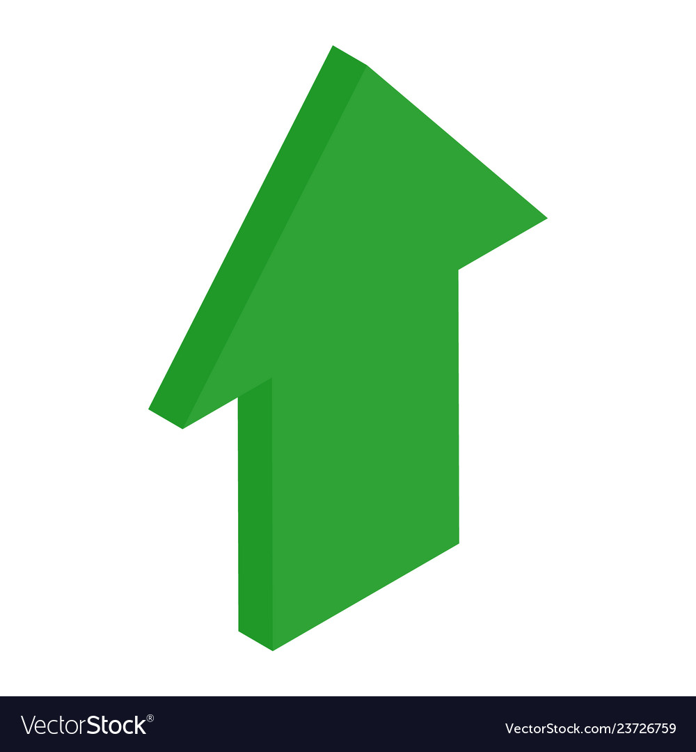 Green isometric arrows growth sign
