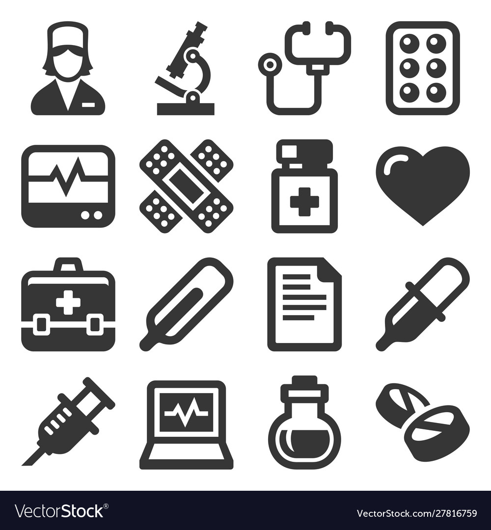 Health and medical icons set on white background