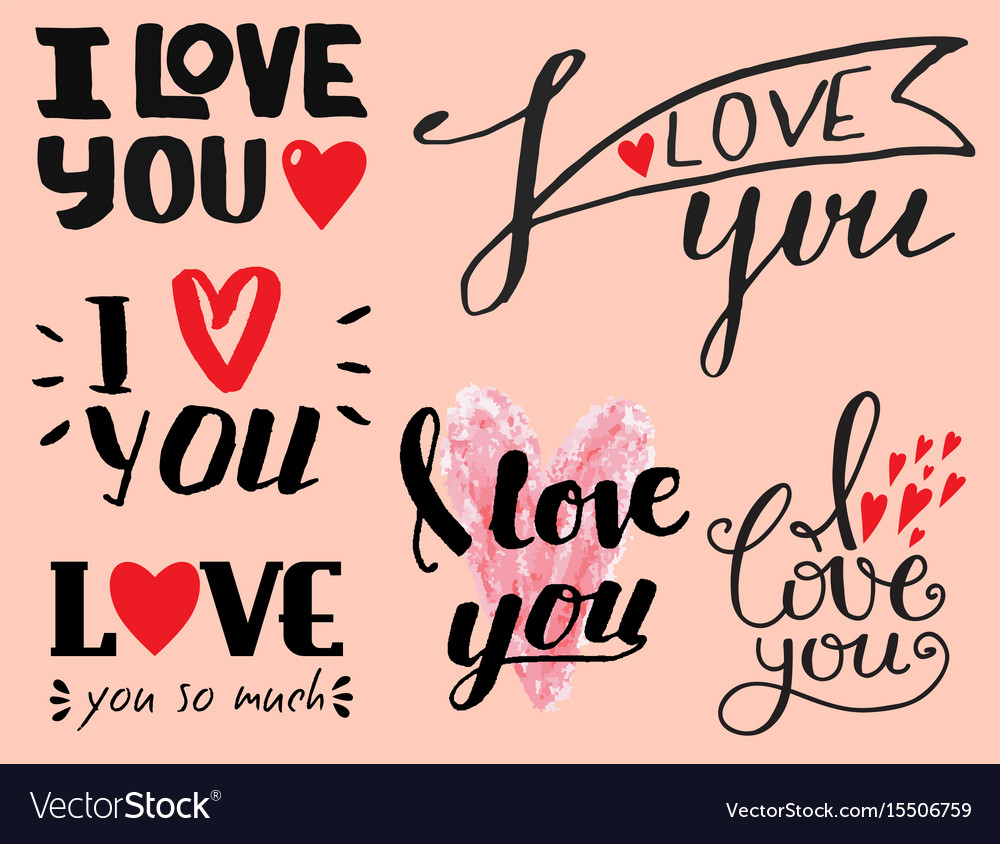 I love you text overlays hand drawn