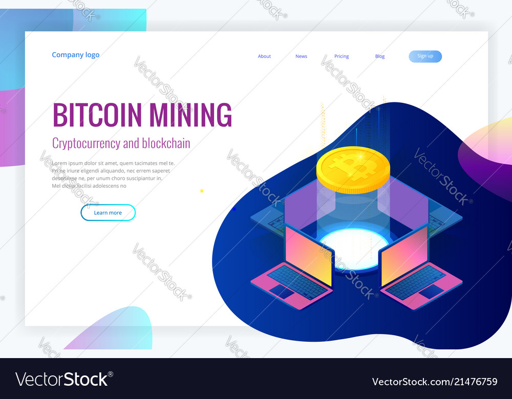 Isometric bitcoin mining concept cryptocurrency