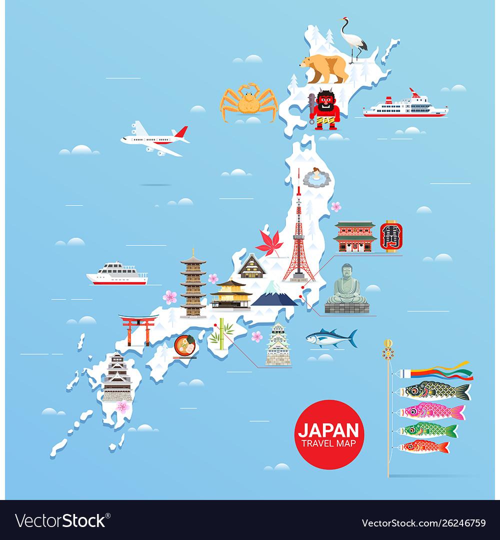 Japan famous landmarks travel map