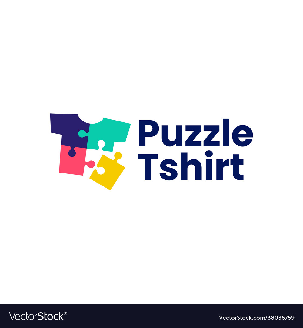 Puzzle tee match t shirt logo icon