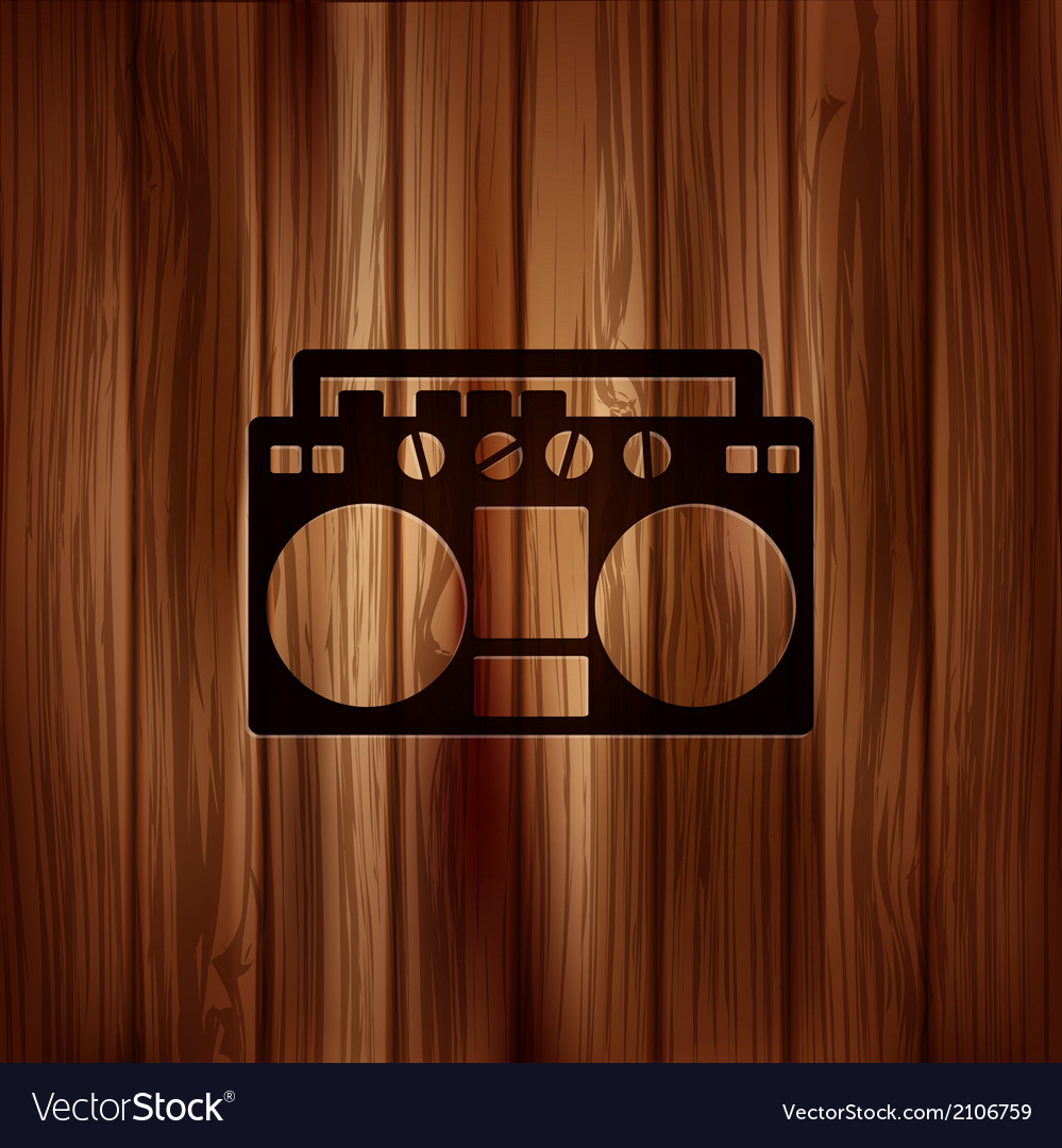 Retro tape recorderWooden background