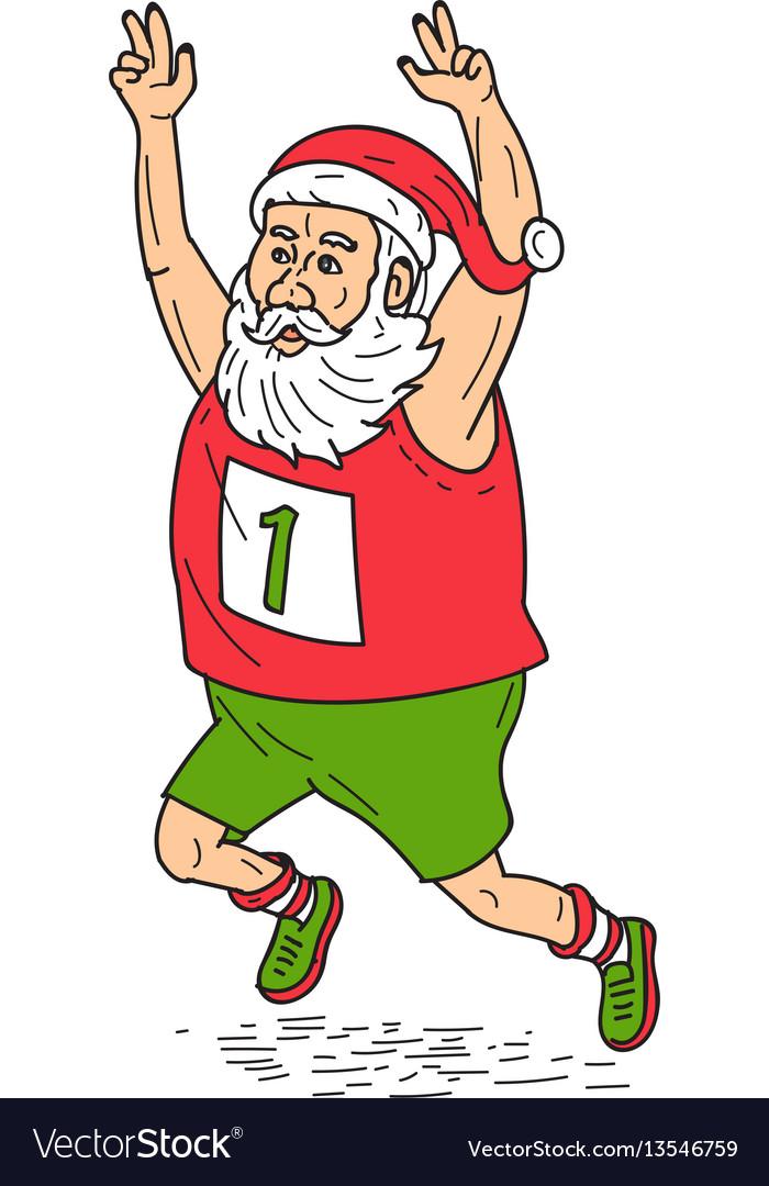 Santa claus father christmas running marathon