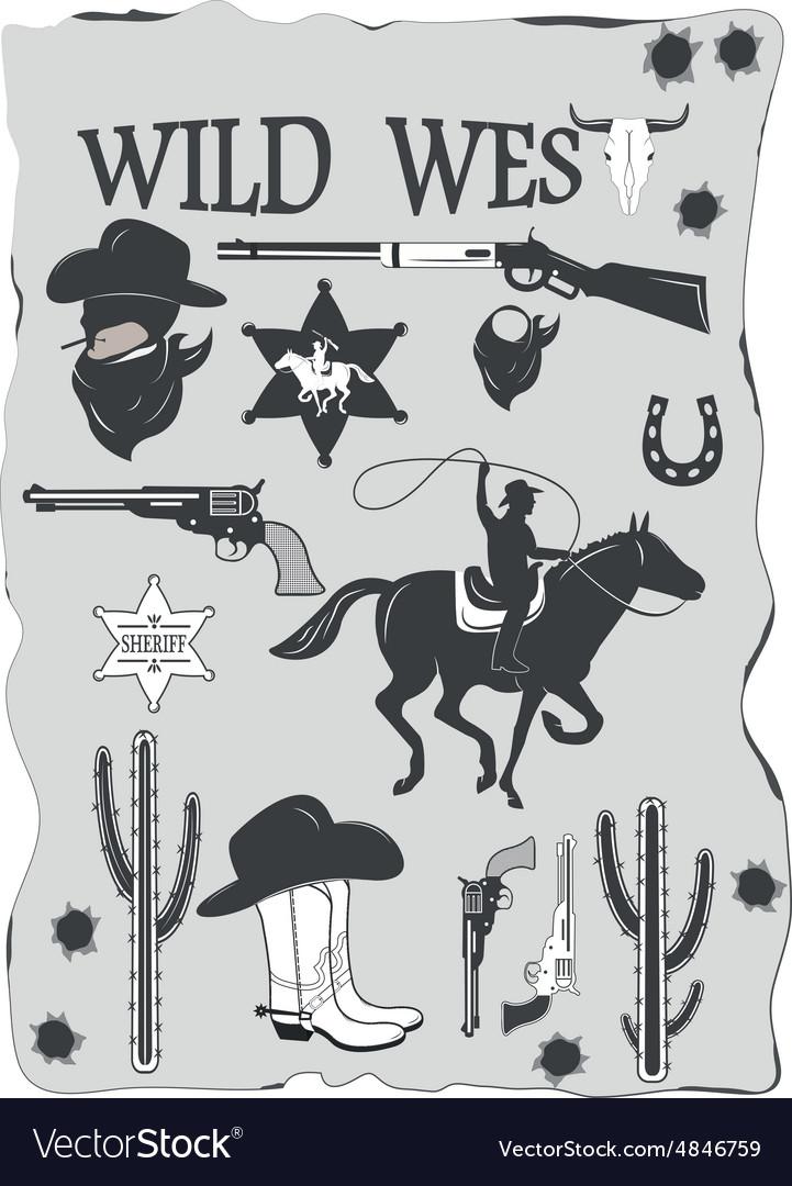 Set wild west cowboy designed elements