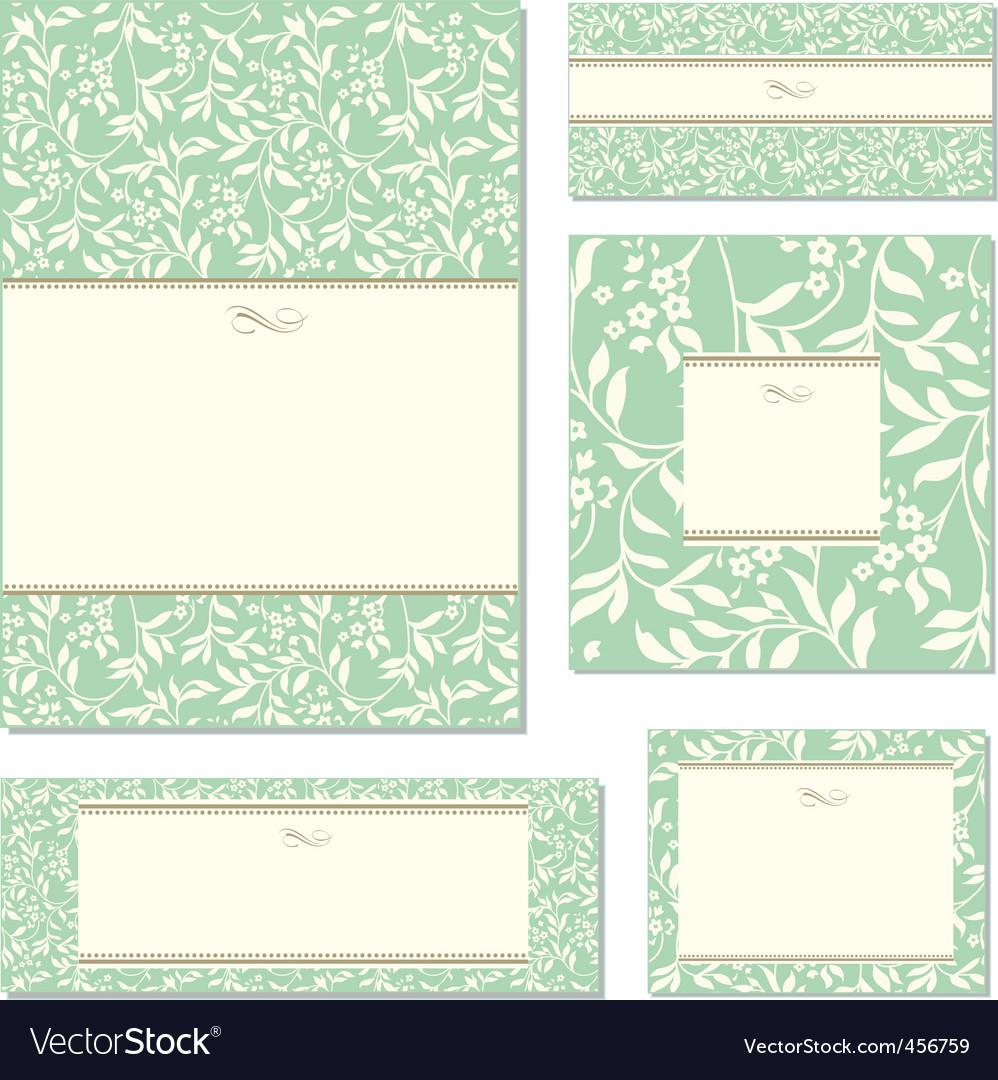 Vector green ivy frame set