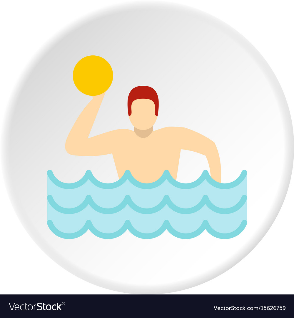 Water polo player in swimming pool icon circle