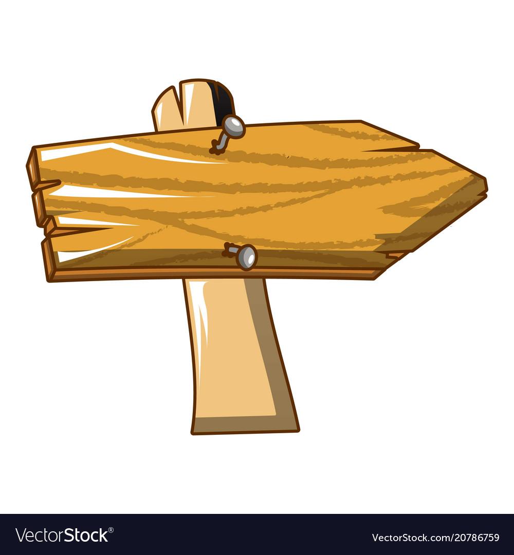 Wood sign icon cartoon style