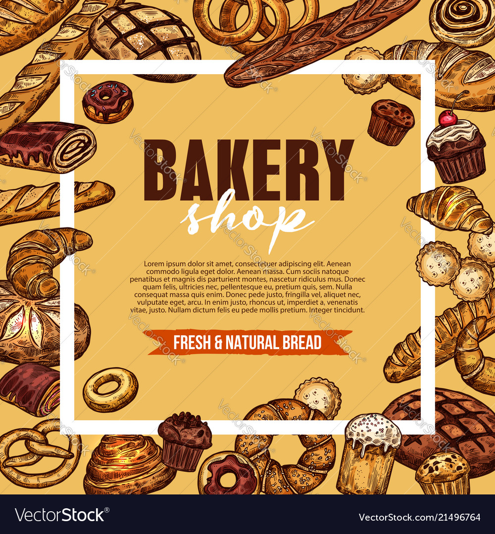 Bakery shop sketch poster with fresh bread frame