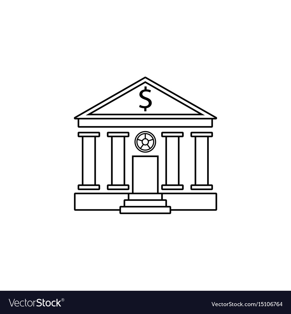 Bank building line icon banking house