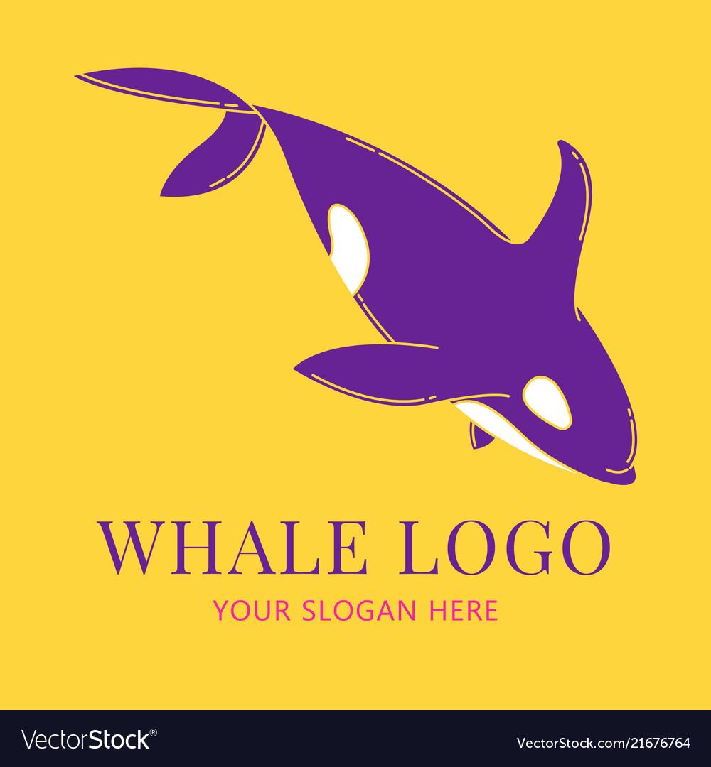 Blue whale logo set flat color style