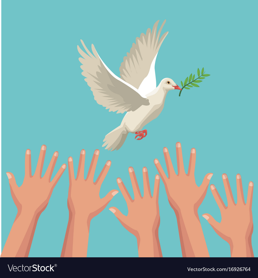 Color poster hands and pigeon peace symbol with