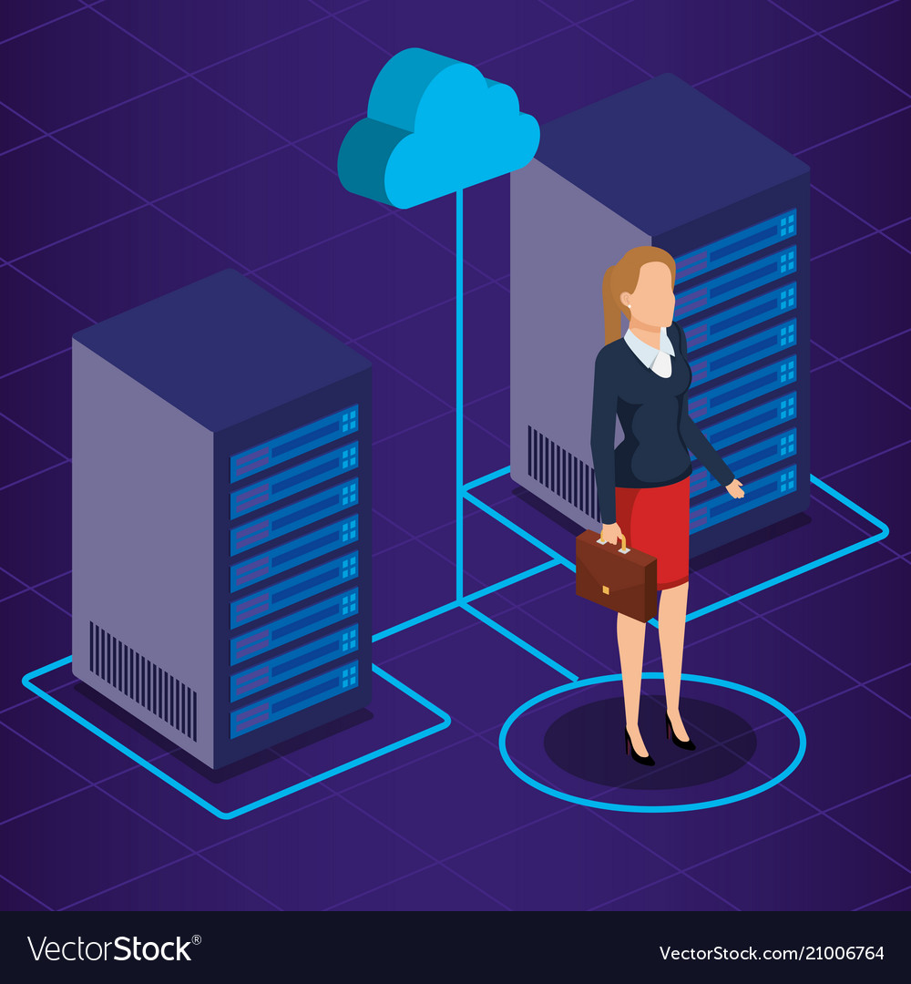 Data center technology and business person