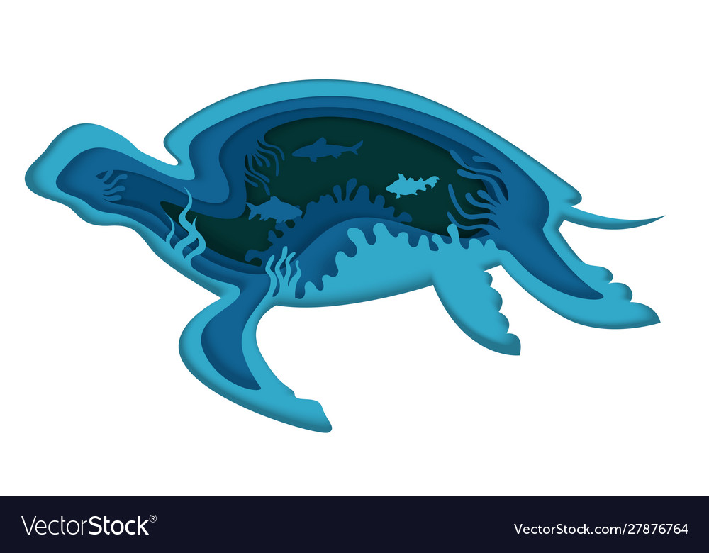 Double exposure layered paper cut turtle
