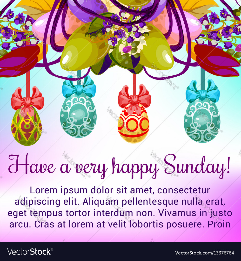 Easter Sunday Greeting Card With Egg And Flower Vector Image