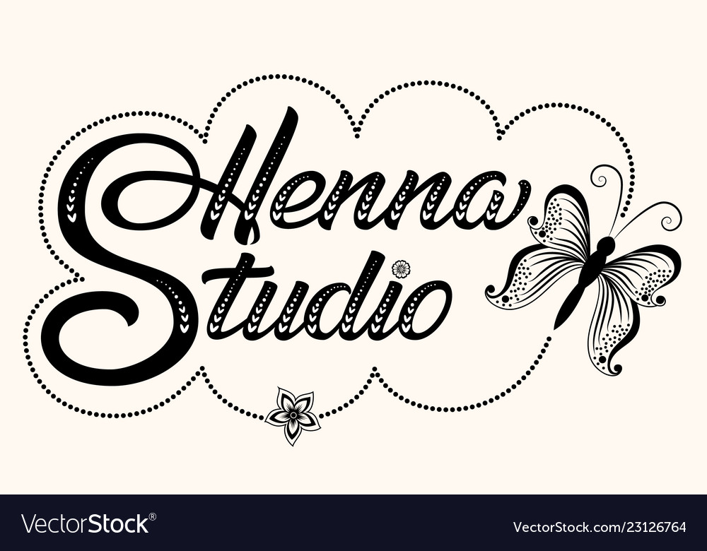 Hand drawn decorated lettering henna studio