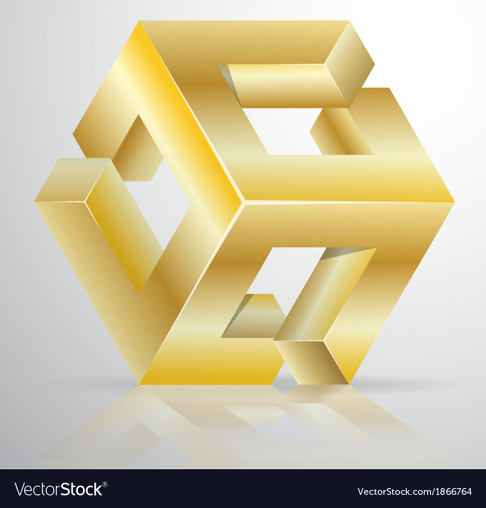 Impossible Figure Golden Icon Sign