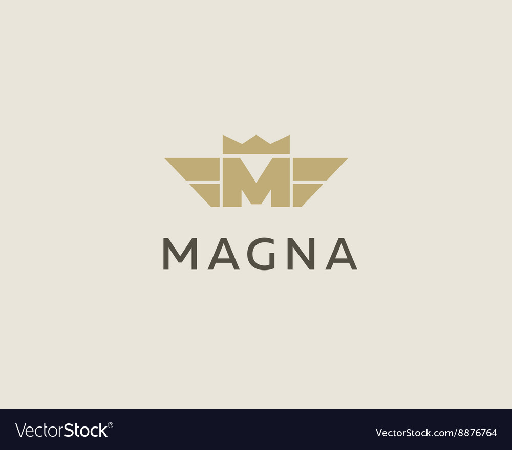 Letter M logo design template Wings crown vector image