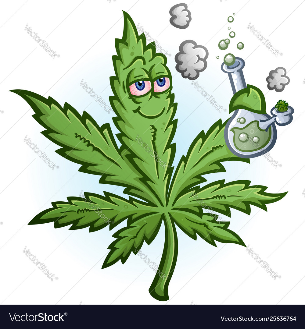 Marijuana leaf cartoon character smoking a bong