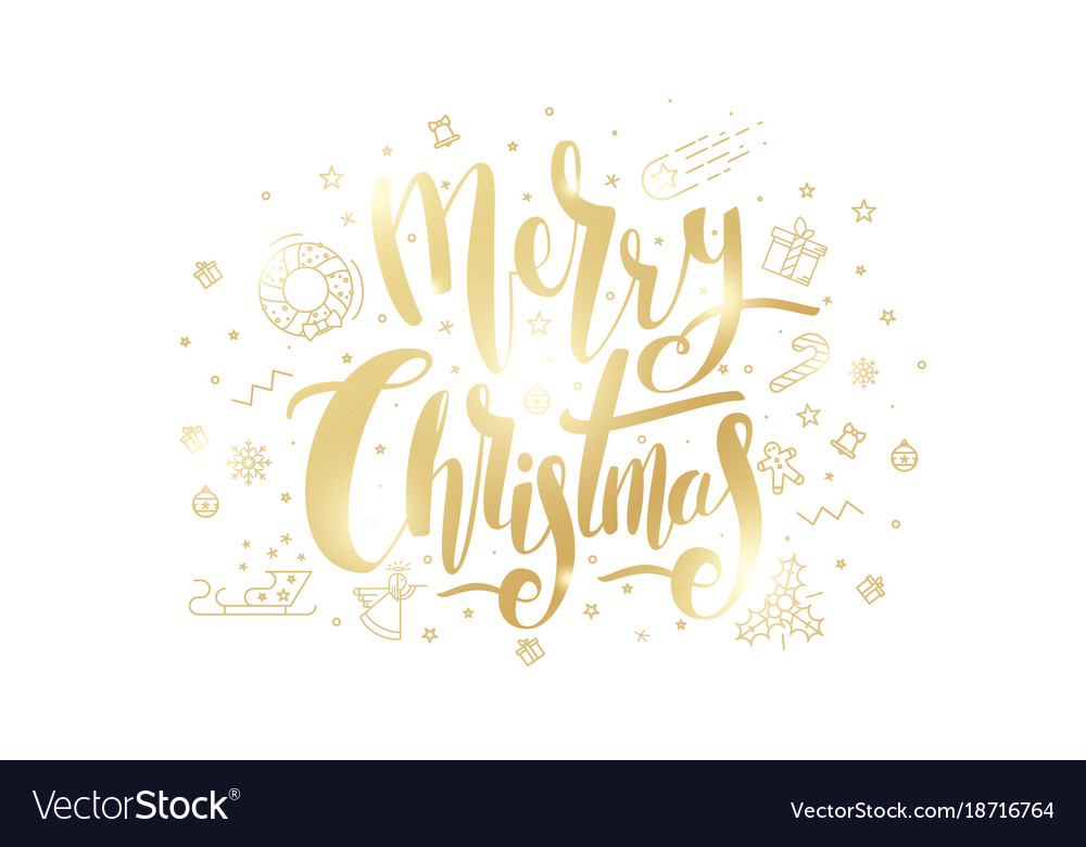 Merry christmas golden text on white background