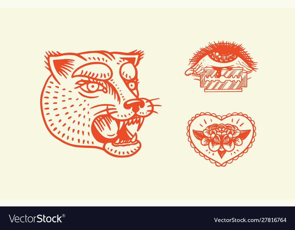 Old school tattoo stickers panther heart and eye