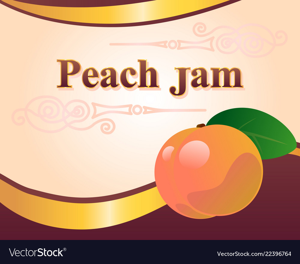 Peach jam label design template