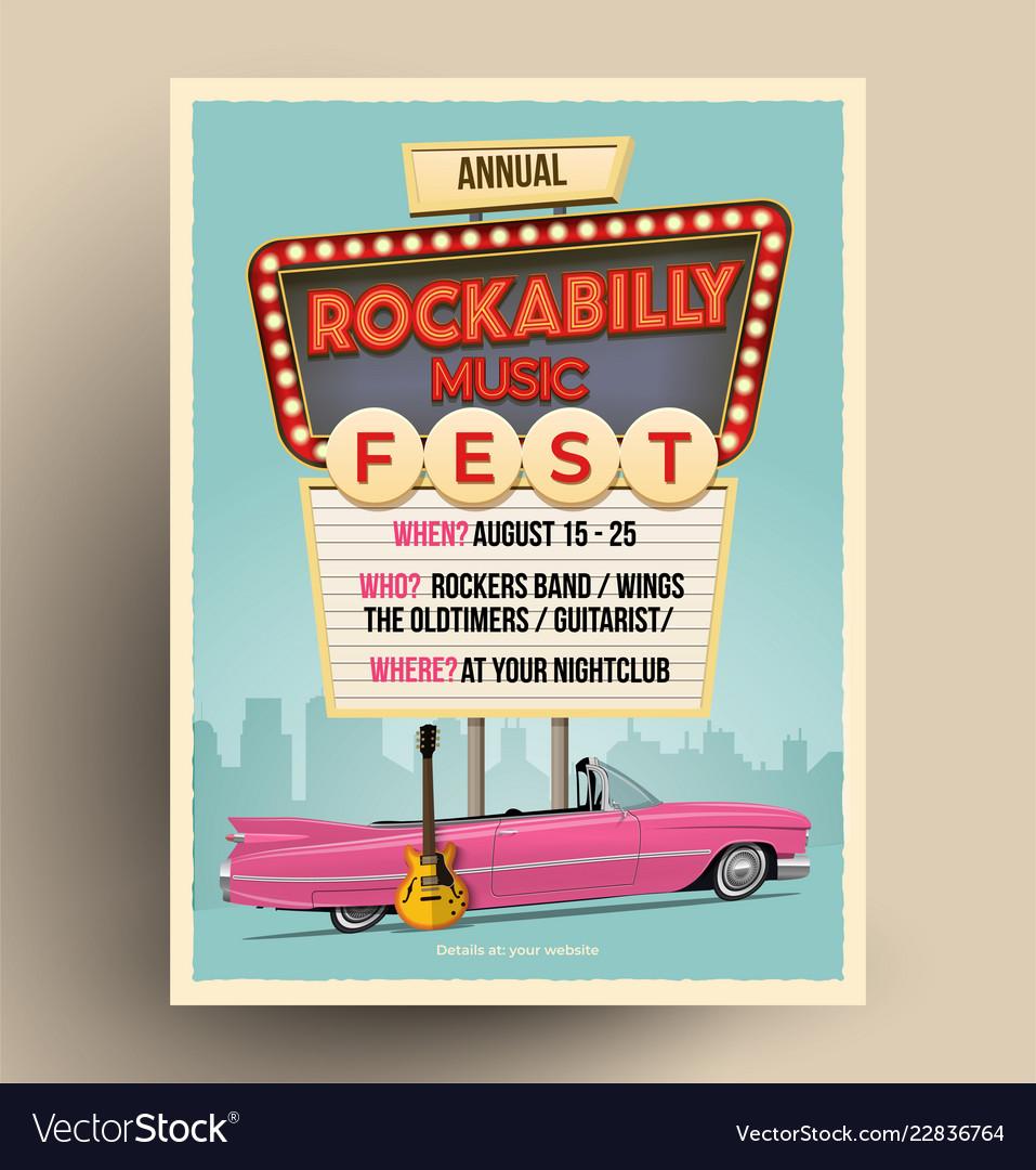 Rockabilly music festival flyer template