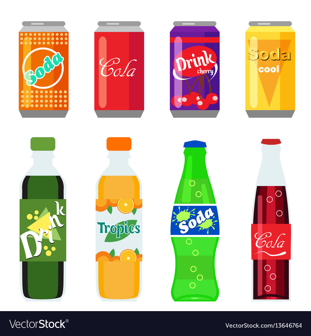 Set of soft drinks in plastic and aluminum