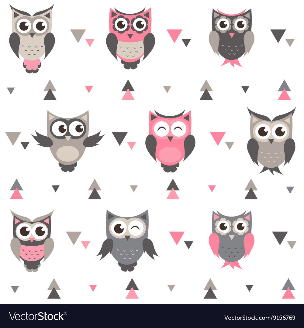 Background with owls owlets and triangles