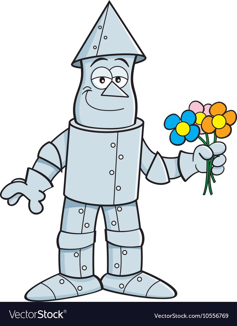 Cartoon tin man holding flowers