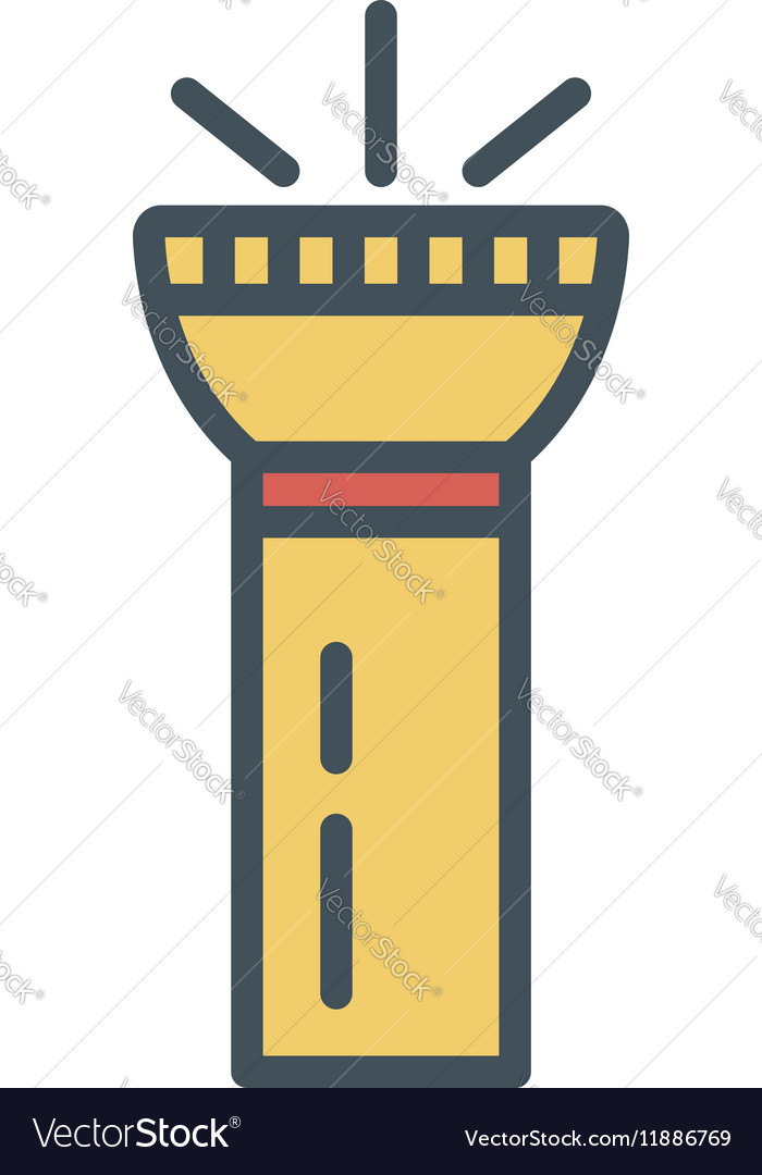 Flashlight flat icon Retro color of vector image