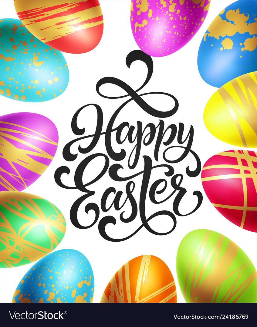 Happy easter background template with lettering
