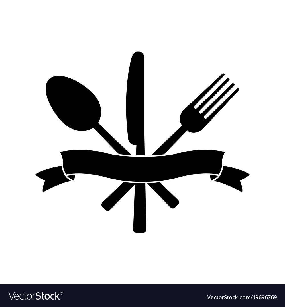 Knife Fork Spoon And Ribbon Royalty Free Vector Image