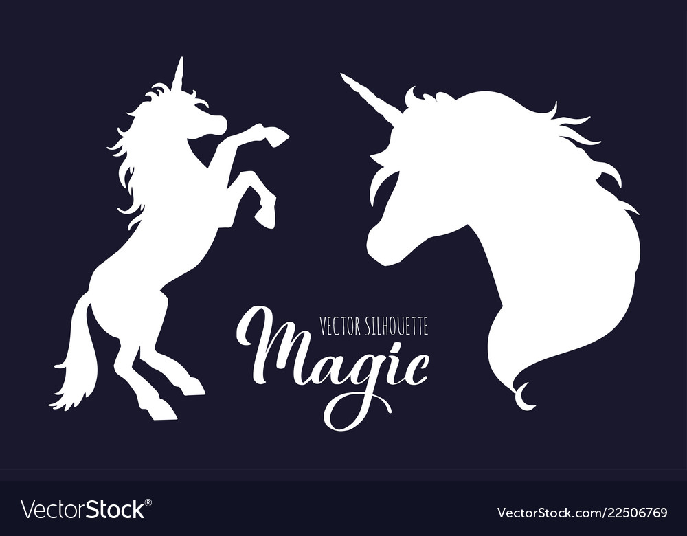 Magic unicorn silhouette collection hand