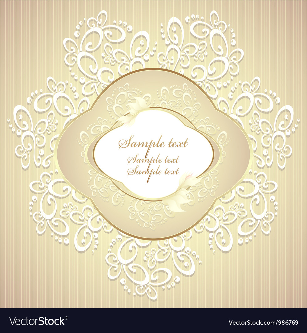 Wedding or sweet frame with petals and lace vector image