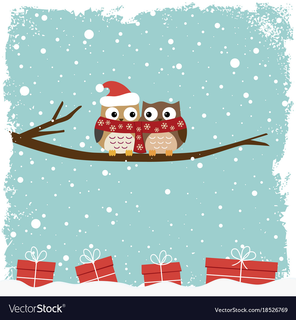 Winter card with two owls
