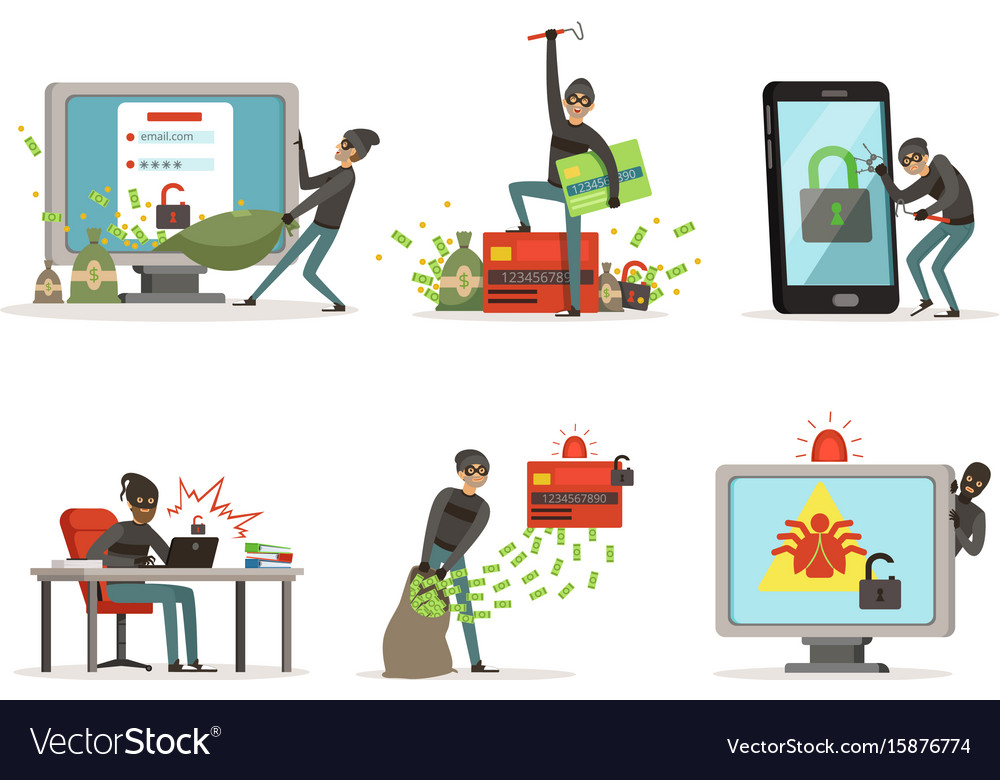 Cartoon of internet hackers vector image