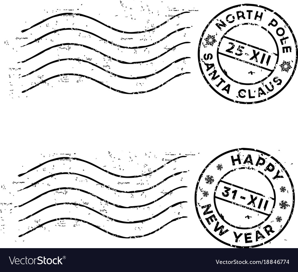 Christmas and new year post stamps isolated on
