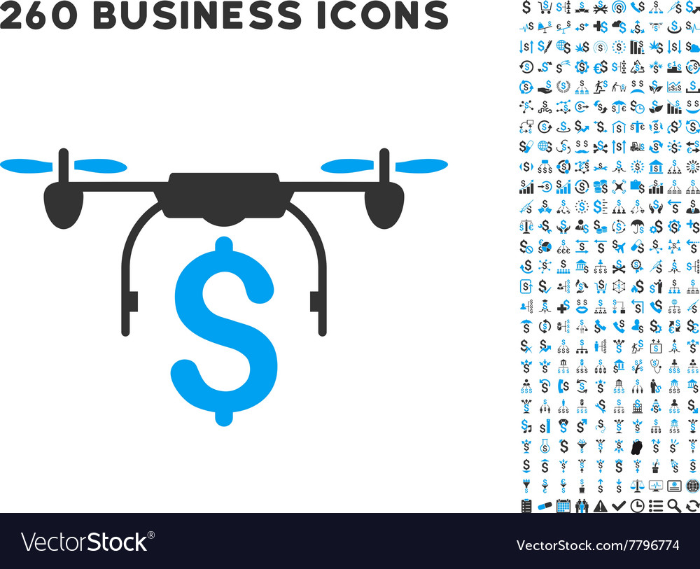 Drone Business Icon with Flat Set Royalty Free Vector Image