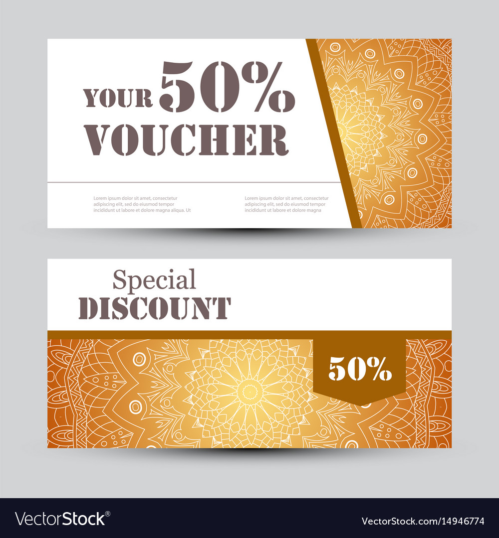 Gift voucher template with mandala design