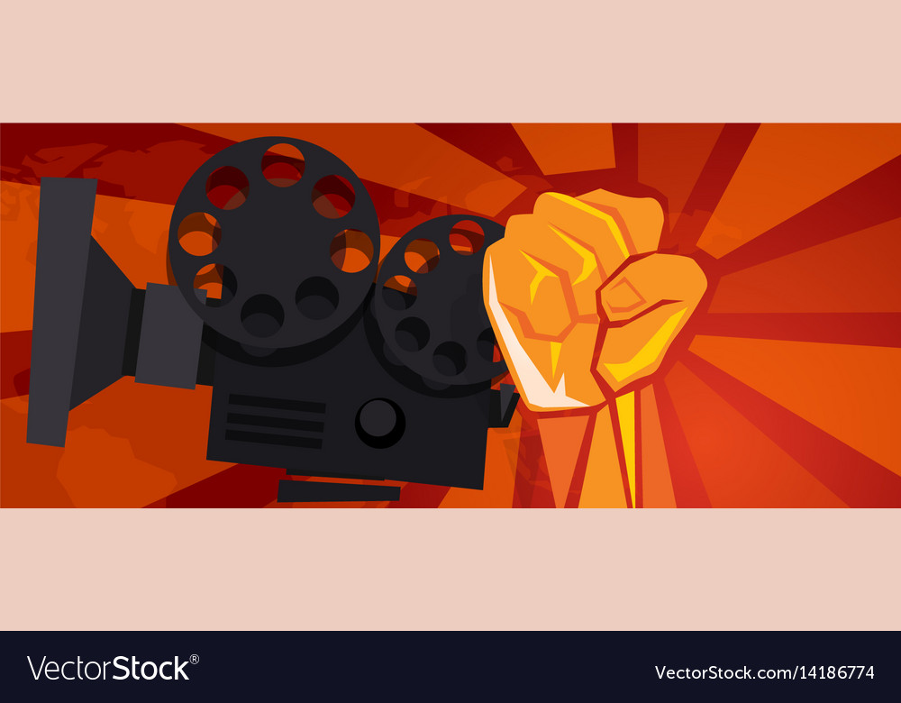 Movie cinema entertainment rebel political hand vector image
