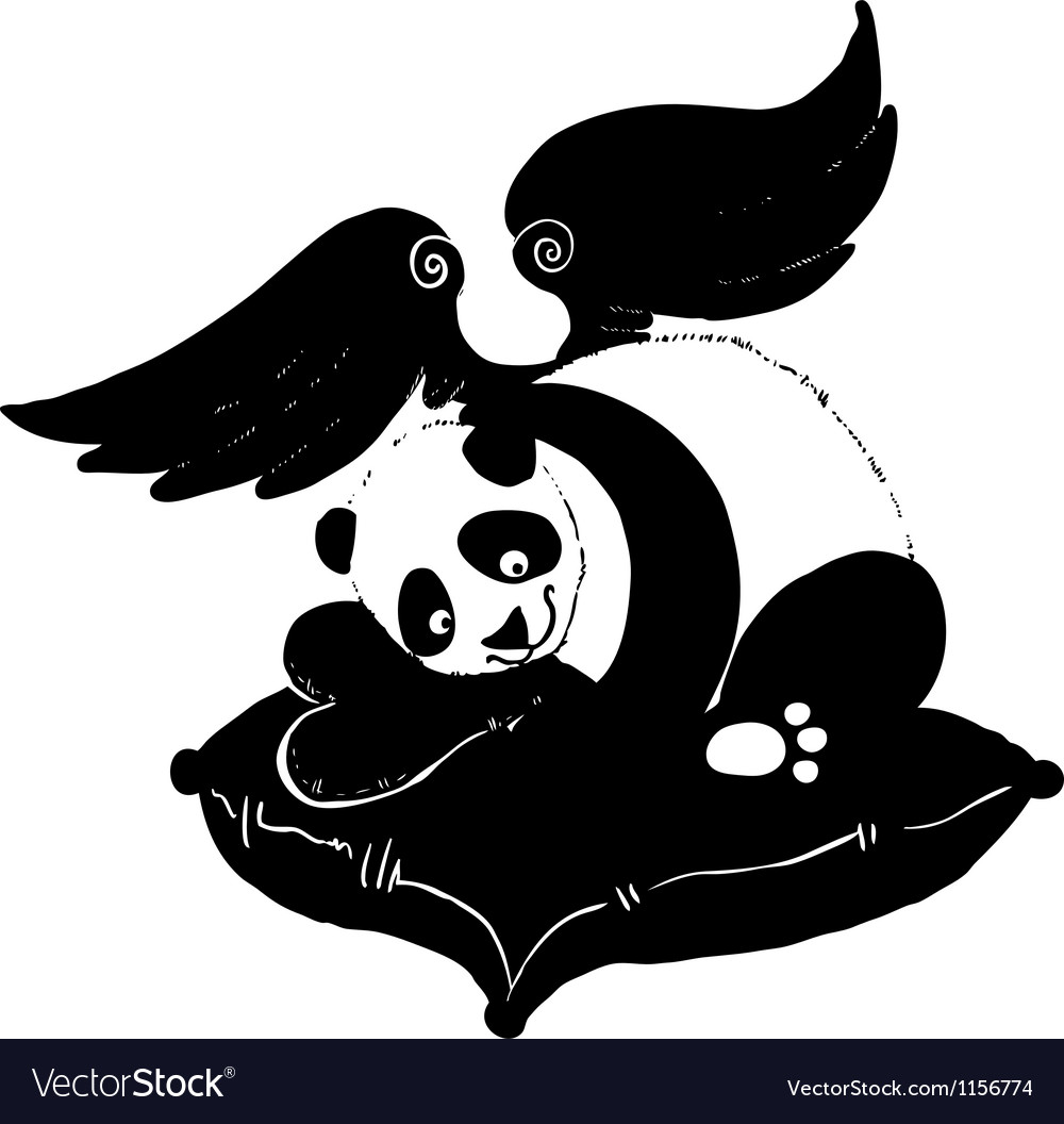 Panda love vector image